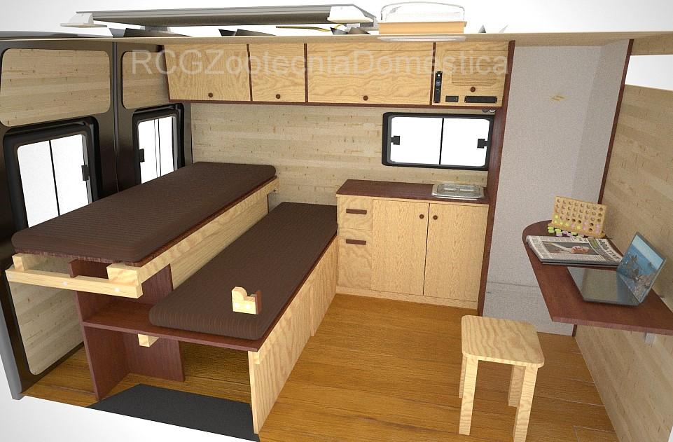 Camper, cama deslizante cabina ducha