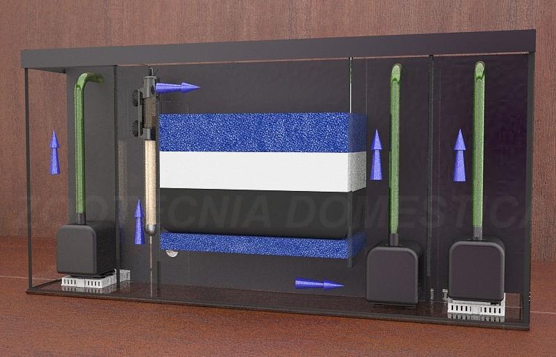 Filtro de laberinto mixto, múltiple. Diagrama de flujos