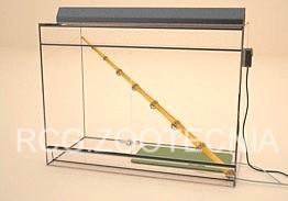 Terrario de vidrio con esterilla y percha caliente