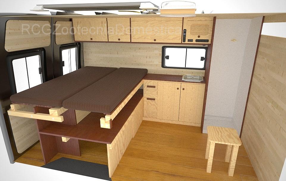 Furgoneta camper, dormitorio doble
