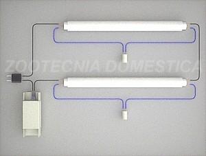 Fluorescente doble, electromagnética simple