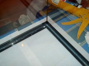 Montando nuevo vidrio acuario
